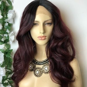 Ombré Black & Burgundy Long Synthetic Lace Wig